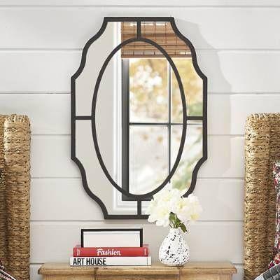 Elegantly Scalloped Wall Mirror Shapely Paneled Metal Frame Iron
