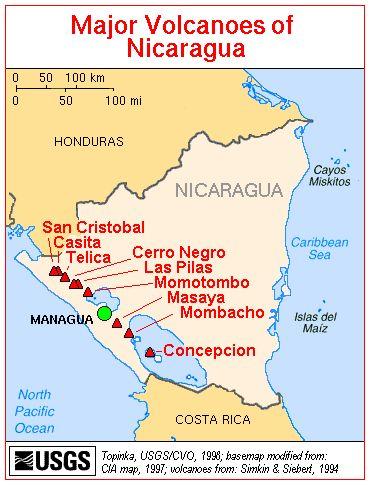 Map, Major Volcanoes of Nicaragua | maps | Managua, Panama ... on map of bluefields nicaragua, map of ocotal nicaragua, map of leon nicaragua, map of masaya nicaragua, map of chinandega nicaragua, map of jinotega nicaragua, map of granada nicaragua, map of nandaime nicaragua, map of managua nicaragua, map of diriamba nicaragua,