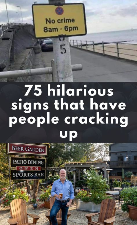 75 hilarious signs that have people cracking up Funny Signs For Work, Funny Street Signs, Funny Road Signs, Fun Signs, Funny Sign Fails, Hilarious Sayings, Funny Memes, 9gag Funny, Memes Humor