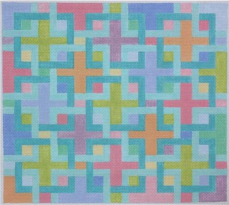 """Blue Sq Chain Design handpainted /""""BB/"""" Needlepoint Canvas Insert by SOS from LEE"""