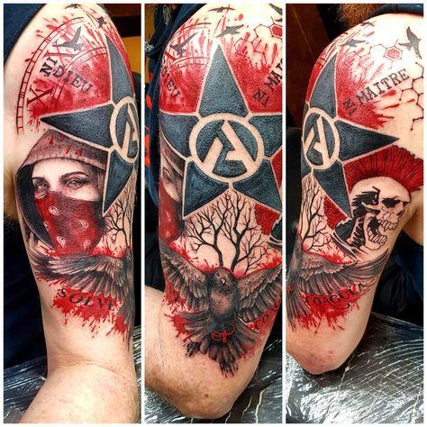 My Latest Tatt A Trash Polka Revolutionary Anarchist Punk Vibe That Incorporates Elements Of My Music Politics He Punk Tattoo Anarchist Tattoo Trash Polka