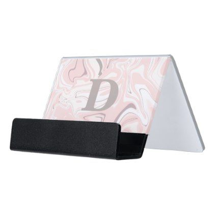 Elegant Minimalist Pink And White Marble Look Desk Business Card Holder Zazzle Com Business Card Holders Sophisticated Gifts White Marble