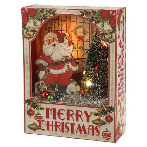 Raz Imports Merry Christmas Vintage Santa and Tree Light Up Shadow Box Christmas Shadow Boxes, Christmas Paper, Christmas Signs, Christmas Wreaths, Christmas Crafts, Christmas Ornaments, Christmas Ideas, Diy Ornaments, Merry Christmas