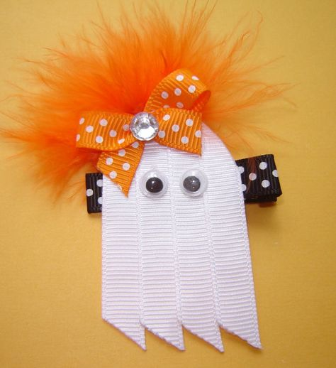 Items similar to Girl's Halloween Glam Boo Ghost Ribbon Sculpture with Rhinestone Orange Polka Dot Bow and Marabou Accents on Black/White Polka Dot Clippie on Etsy Hair Ribbons, Diy Hair Bows, Diy Bow, Bow Hair Clips, Felt Hair Clips, Disfarces Halloween, Halloween Hair Bows, Ribbon Art, Ribbon Crafts