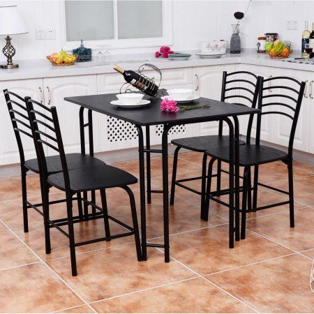 Goplus 5 Pcs Black Dining Set Table 4 Chairs Steel Frame Home Kitchen Furniture Metal Dining Room Modern Dining Table Set Dining Table Chairs