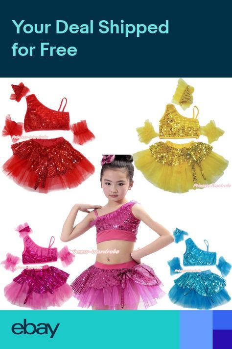 252200803 Bling Sparkle Sequins Ruffle Top Kids Girl Ballet Dance Tutu Skirt Costume  1-8Y