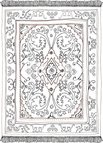 Hand Drawn Persian Style Carpet In 2021 Persian Carpet Oriental Rug Patterns Persian Motifs