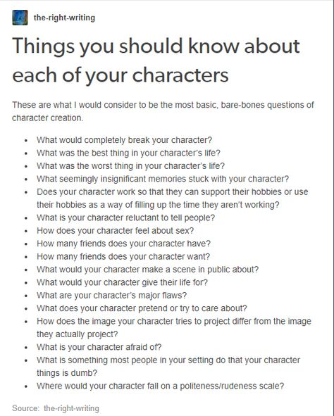 Things you should know about your characters