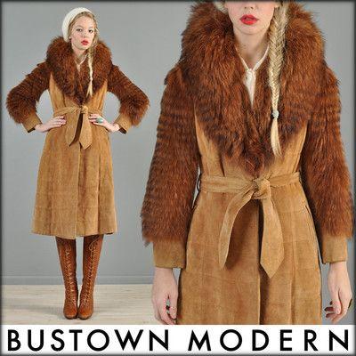 vtg 70s FEATHERED FOX FUR + SUEDE coyote hippy boho AVANT GARDE cape coat jacket