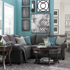 Delicieux Thinkin Of Doing These Color In One Of The Living Rooms.. Turquoise And Grey  With All Black And Write Pictures Of The Family | Living Room | Pinterest  ...