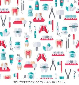 Seamless Dentist Equipment Pattern On White Background Vector Illustration Dental And Orthodontics Tools Teeth Dental Wallpaper Dentist Dental Emergency