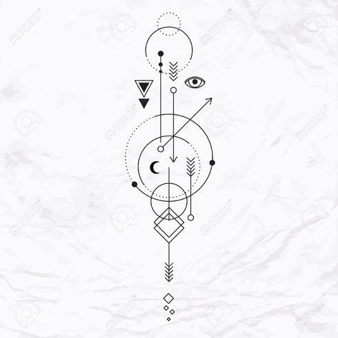 Signo místico abstracto con formas geométricas, triángulos, galones, flechas, círculos, puntos, y la alquimia y antiguos símbolos masónicos, ojo, la luna, los planetas senderos. Ilustración vectorial de las embarcaciones de la magia moderna Foto de archivo - 47519903