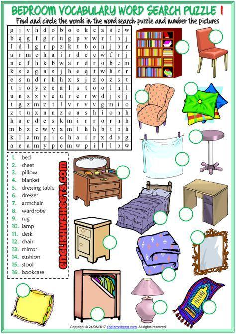 Bedroom Word Search Puzzle Esl Printable Worksheets Vocabulary Worksheets Vocabulary Games For Kids Esl Vocabulary Vocabulary worksheets word search puzzles