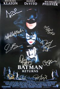 BATMAN RETURNS original 27x40 movie poster cast signed by Michael