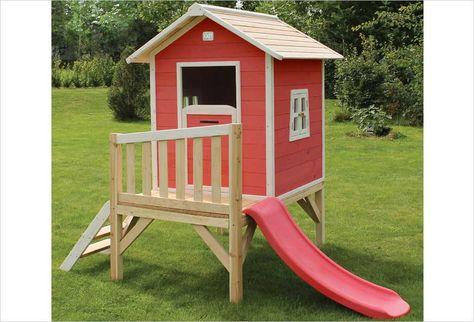 Cabane En Bois Pour Enfant Beach 100 Rouge Exit Toys Cabane Enfant