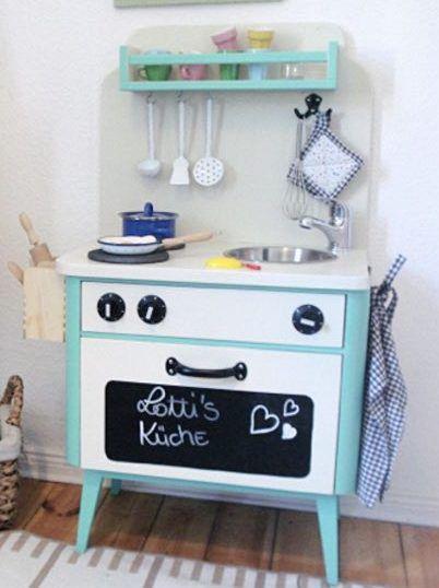 DIY-Anleitung Kinderküche aus einem alten Nachtschrank selber - ikea küche anleitung