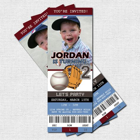 Personalized Birthday Party BASEBALL TICKET Invitations
