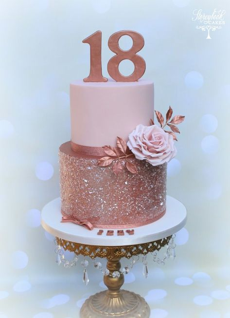 Rose Gold Birthday Cake Rose gold 18th birthday cake, rose gold glitter cake,  #18th #18thbirthdayparty #Birthday #Cake #glitter #GOLD #rose