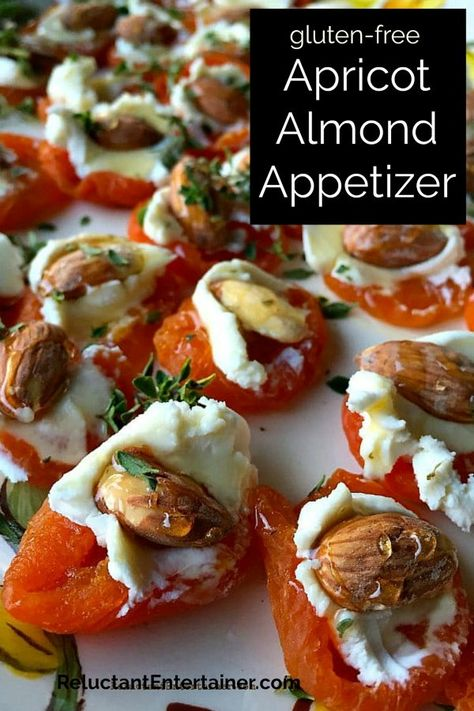 This Apricot Almond Appetizer is the perfect lighter appetizer to bring to a party, and an excellent choice for gluten-free guests! #apricotalmondappetizer #apricotalmondbites #driedapricotgoatcheeseappetizer #appetizer #reluctantentertainer