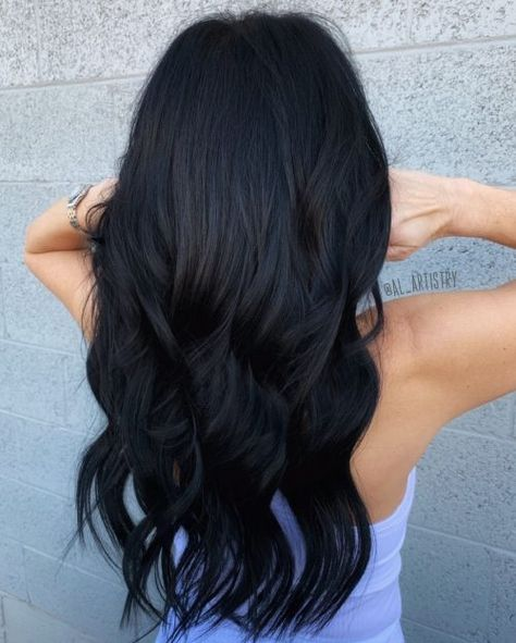23 Flattering Dark Hair Colors for Every Skin Tone in 2020 Hair Color Dark, Hair Color For Black Hair, Black Hair On Pale Skin, Dye For Dark Hair, Dark Hair Style, Black Colored Hair, Raven Hair Color, Dyed Black Hair, Natural Black Hair Color
