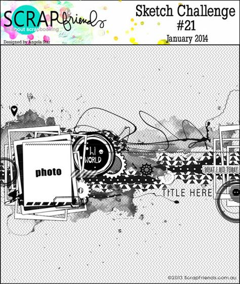 Sketch Challenge January 2014. #scrapbooking #scrapbook #layouts #sketches…