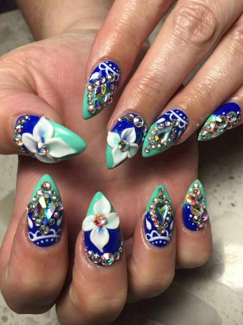 The rage in blue by Lindsey at Diva Nails