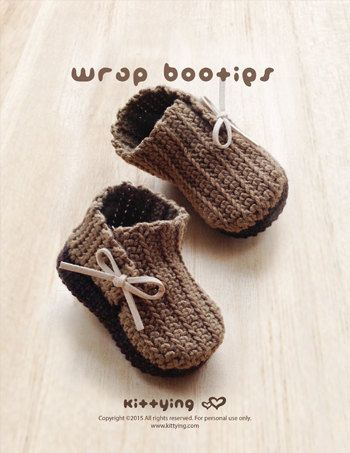 Crochet Pattern  Wrap Baby Booties Newborn Boots  by Kittying.com / Mulu.us