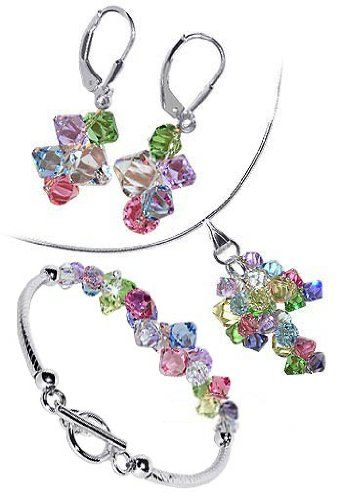 $84.99  Made with 100% Austrian Swarovski Elements Crystal. Has all major colors you can think of. Superb quality, Magnificent creation and a bargain price. What more can you expect Length of Bracelet is 7.5 inches. Beautifully crafted with glittering and gorgeous multi color crystals These Crystals are multi faceted making them glitter like Diamonds. If you do not have Swarovski Crystal Jewelry then it is time to try this one...