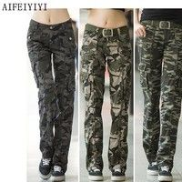 Buy Women workout Military camouflage cargo pants denim overalls Ladies straight Multi-pocket trousers at Wish - Shopping Made Fun