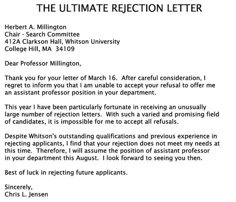 THE ULTIMATE REJECTION LETTER! The funny side of life Pinterest - rejection letter sample
