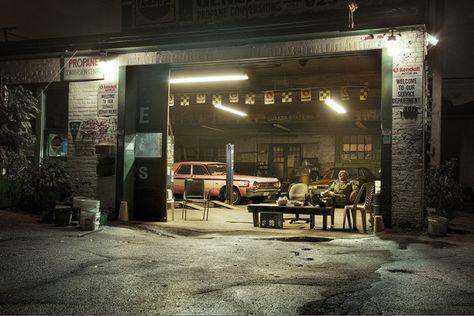Mechanic by David Wile, via Behance Mechanic Shop, Mechanic Garage, Garage Shop, Car Garage, Chapter 16, Garage Design, Garage Organization, Vintage Design, Photo Projects