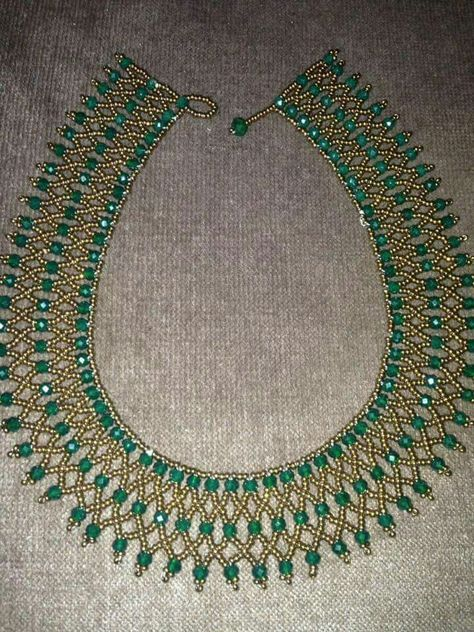 Netted Green & Gold Emerald Necklace – Şeref Şenyıl – Join the world of pin Egyptian Collars in Gold and S
