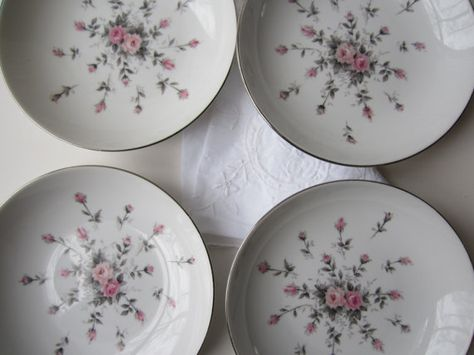 Vintage 50s Harmony House Rosebud Pink and Gray by thechinagirl