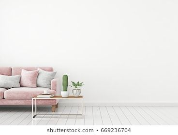 Livingroom Interior Wall Mock Up With Pink Velvet Sofa And Pillows On White Wall Background With Free Space On Right Interior Walls Pink Velvet Sofa Interior