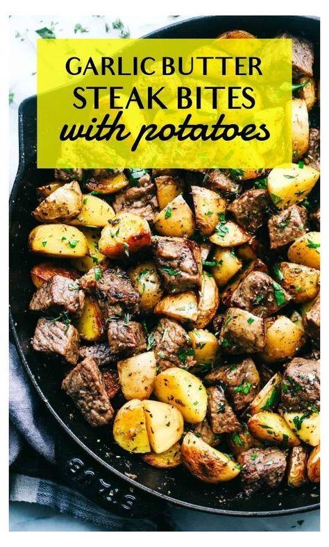 Garlic Butter Herb Steak Bites with Potatoes | The Recipe Critic #simple #dinner #recipes #simpledinnerrecipes
