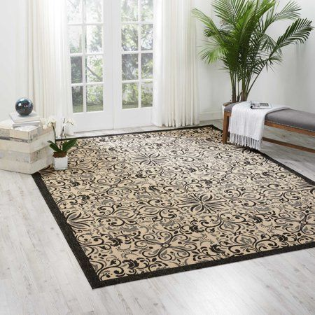 Nourison Caribbean Repeat Medallions Ivory Charcoal Area Rug Walmart Com Indoor Outdoor Area Rugs Area Rugs Indoor Outdoor