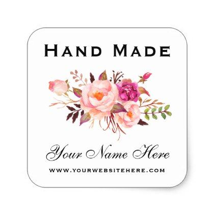 Hand Made Pink Watercolor Floral Small Square Sticker Zazzle Com Pink Watercolor Floral Watercolor Custom Stickers