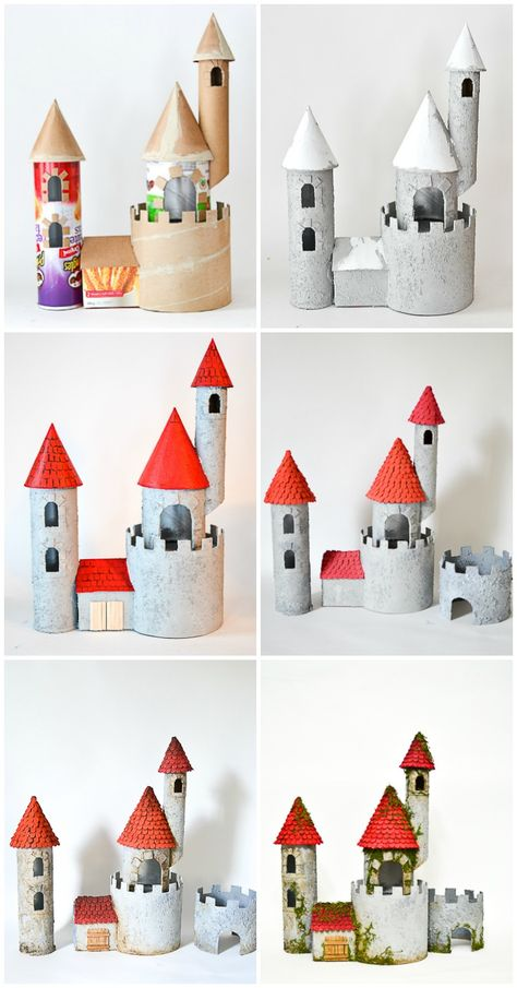 diy cardboard crafts DIY Make a Cardboard Castle from Recyclable Materials: Build an impressive toy castle out of packing tubes, potato chips containers and paper towel rolls! Fun craft for kids who are not knights and history. Cardboard Rolls, Cardboard Castle, Diy Cardboard, Cardboard Playhouse, Cardboard Furniture, Cardboard Recycling, Recycled Furniture, Handmade Furniture, Fun Crafts For Kids