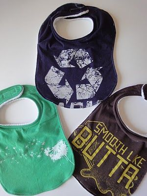T-shirt Bib Tutorial:  You can make these with either: adult graphic tees  or toddler button down shirts  {You can use an adult men's shirt, you just won't be able to fit the cute pocket on the bib.}