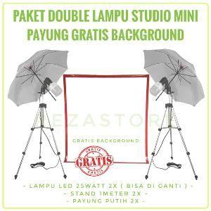 Jual Paket Double Lampu Foto Studio Mini 25 Watt Free Background Payung Murah Lighting Foto Produk By Rezastore Di Lapak Reza Store Eas Lampu Payung Studio