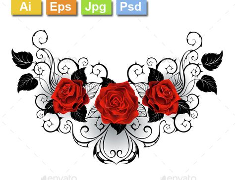 Symmetrical Tattoo of Red Roses #store #silhouette Download : https://graphicriver.net/item/symmetrical-tattoo-of-red-roses/14697125?ref=pxcr