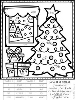 Place Value Color By Number Christmas Themed 6 Sheets Place Value Value And Base Ten Blocks Christmas Coloring Sheets Christmas Teaching Christmas Themes