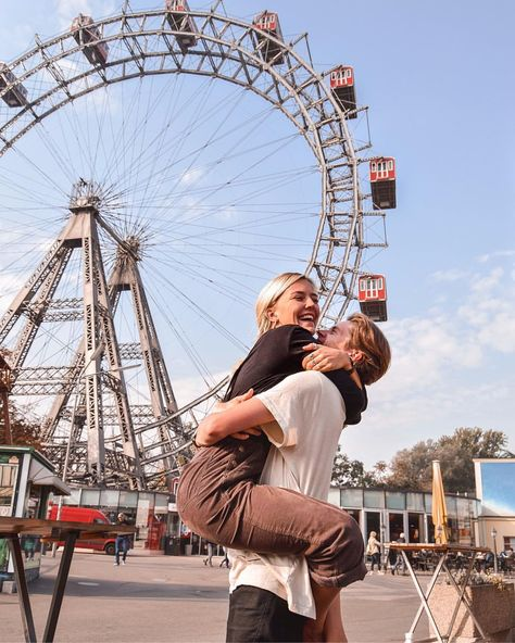 Vienna Instagram spots Ferris wheel happiness love fun Wanderers and Warriors Charlie and Lauren UK travel couple goals