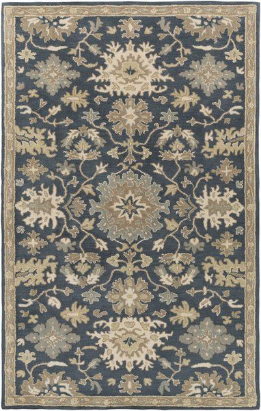 Willard Floral Handmade Tufted Wool Navy Tan Area Rug Area Rugs Brown Rug Traditional Area Rugs