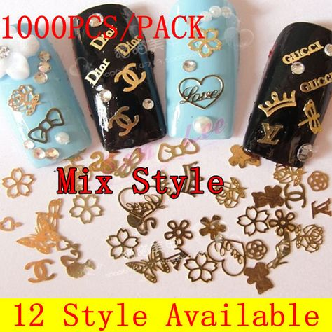 [HJSP-002]1000pcs/pack Mix Style, 12 Style Available Gold Nail Art Metal Sticker Decoration,  Metallic Sticker + Free Shipping $5.20