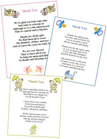 Thank You Letter Baby Shower Baby Shower Thank You Thank You Poems Baby Shower Printables