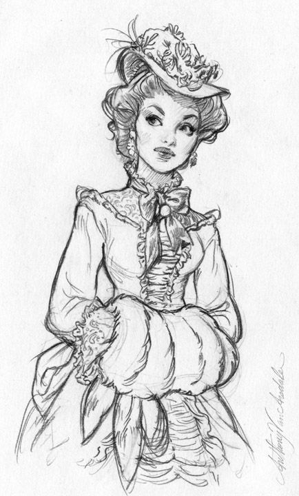 Lady Clara Huxley: Anthony VanArsdale - Art and Illustration: Historical Dress Sketches Dress Sketches, Drawing Sketches, Drawing Faces, Art Drawings, Sketching, Fashion Sketches, Drawing Fashion, Drawings About Love, Fantasy Drawings