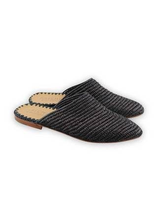 Raffia Loafer Natural With Blue Trim Babouches Essaouira Et Maroc