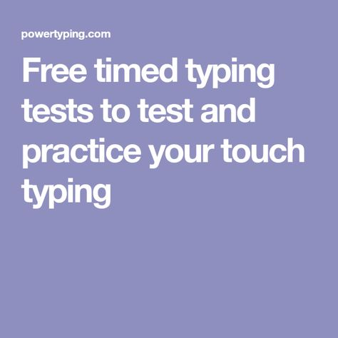 Free timed typing tests to test and practice your touch typing | HS
