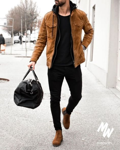 Suede Boats Outfit Men Winter Ideas For 2019